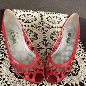 c2b16156399 Vintage Bandolino W 8N Peep Toe Pumps Red Leather